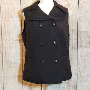 Talbots black quilted vest with collar. Size M